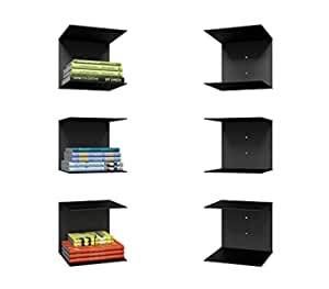 Levon Book Shelf Wall Mounted Heavy Duty Metal Invisible Book Shelves 3Piece Per Pack (Made in India) with Screws