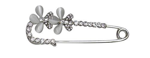 Unbekannt Brosche Stil Anstecker Silber Blume und Strass weiß.