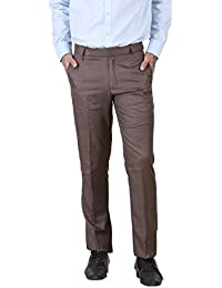 York Style Brown Colored Cotton Lycra Formal Trouser For Men