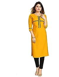 Muta Fashions American Crepe Yellow Women Kurti (KURTI362_Yellow)