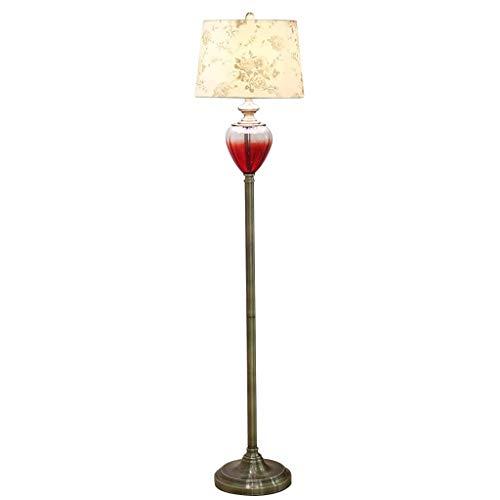 Home mall- Lampadaire moderne en verre, lampe debout avec abat-jour en  tissu pour chambre salon E27 159CM