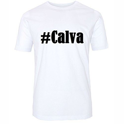 T-Shirt #Calva Hashtag Raute für Damen Herren und Kinder ... in den Farben Schwarz und Weiss Weiß