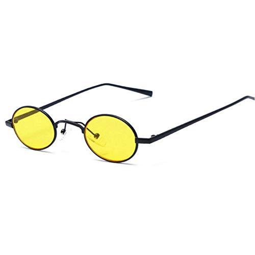 GBST Men Women Round Sunglasses Fashion Sun Galsses Women Men Small Frame Galss,Black Yellow