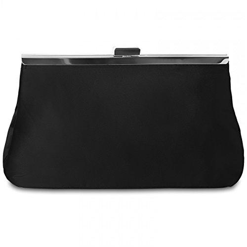 Pochette / Borsa Da Sera Caspar Classic Lady Satin Dal Design Elegante - Molti Colori - Ta320 Nero