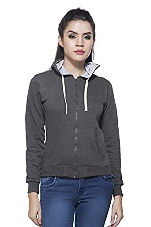 Maniac Women's Cotton Fullsleeve Hooded Sweatshirt (Charcoal, Medium)