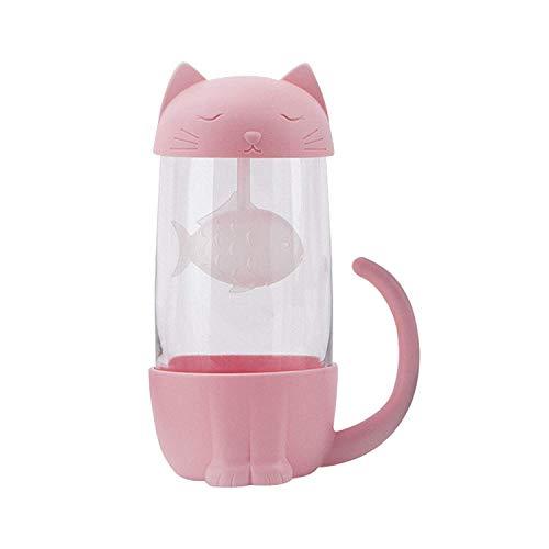 Txyk Katzen Glas Tee Becher Wasser Flasche mit Fisch Tee Infuser Sieb Filter 280ML (Weiß, rosa, schwarz, blau zufällige Lieferung) Fisch Tee