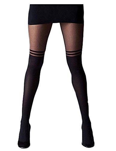 Mangotree Mode Schwarzes Kreuz Band Vintage Ausdehnungs-Strumpfhosen Pantyhose Ultradünne Strümpfe Bandage Jahrgang Leggings Strumpfhosen (One size, D# Schwarz) (Leggings Strumpfhose Shorts)