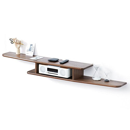 DELLT-Support de décoration murale Solide Bois Simple Chambre Tenture Murale TV Cabinet Salon Mur Set-top Box Étagère Hêtre Noir Noyer Étagère Nordic Meubles ( Couleur : FAS grade black walnut wood color )