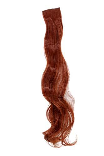 WIG ME UP - Breite Extension mit 2 Clips Strähne Haarverlängerung Haarteil Highlight wellig 63cm / 25inch Henna-Rot, Rostrot YZF-P2C25-130 -