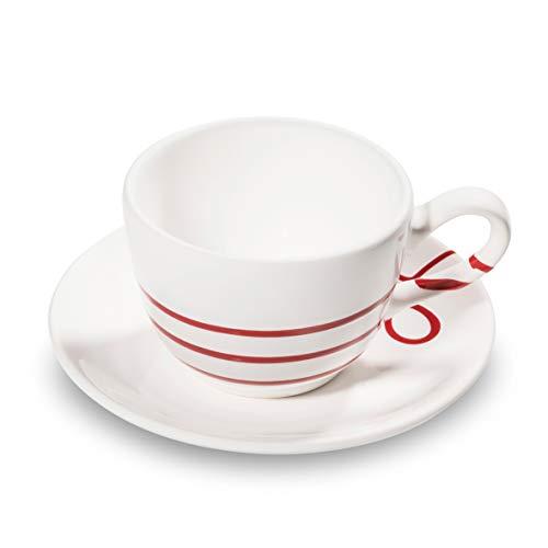 GMUNDNER KERAMIK Kaffeetasse mit Unterteller   Set, 2-teilig   Pur Geflammt Rot   Geschirr, handgemacht in Österreich Rote Keramik