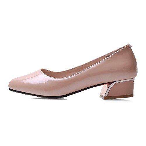 AllhqFashion Damen Niedriger Absatz Lackleder Rein Spitz Zehe Pumps Schuhe Pink