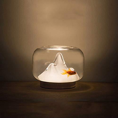 Weich Aquarium Nachtlampe USB Aufladung Tisch Schreibtisch Schlafzimmer Handgemachte Glas LED Warmes Licht Spaß Literatur und Kunst Komfortabel - Spaß-glas-tisch-lampe