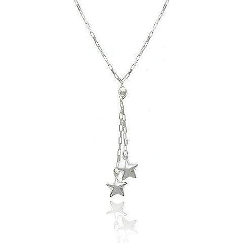 Nursery Rhyme Sterling con maglie SilverRectangle Sterling con perline a forma di stella, modello Twinkle Twinkle-Collana Lariat