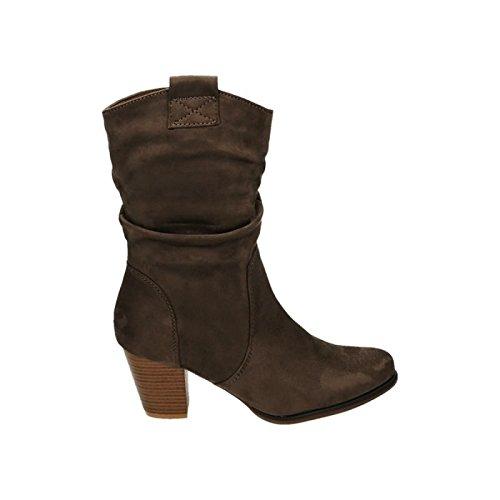 Damen Stiefeletten Cowboy Western Stiefel Boots Schlupfstiefel Blockabsatz Schuhe 65 Khaki 2