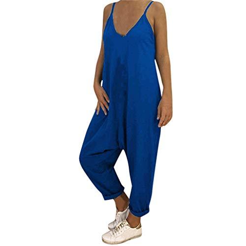 ZZXIAN Jumpsuits Damen Elegant Lang, Overalls Sommer Latzhose Leinen Bodysuit Yoga äRmellos Frauen Casual Romper Push Up -
