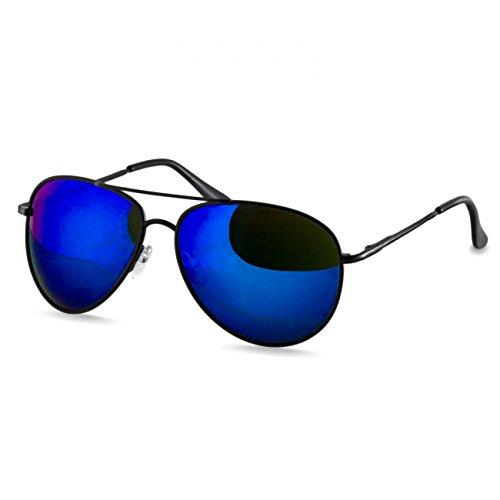 Caspar SG013 klassische Unisex Retro Piloten Sonnenbrille, Farbe:schwarz/blau verspiegelt