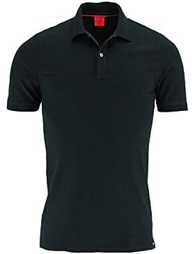 OLYMP Body Fit Poloshirt Halbarm geknöpft Pique schwarz