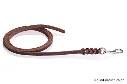 Fettlederleine 10m braun mit Chrom Haken, Schleppleine aus Leder für Hunde (10m x 10mm)