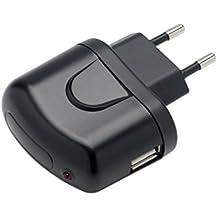 Slabo Adaptador AC Cargador Red Plano USB para BQ Aquaris M5 Cargador Viaje Ultra Slim - NEGRO
