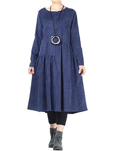 Mallimoda Women's Corduroy Oversized Dress Long Sleeve Swing Cocktail Dresses Blue XL