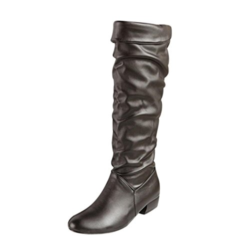 Tatis Mode Frauen PU Obermaterial Einfarbig Flache Hohe Stiefel biker stiefel (EU Size:41, Schwarz) (Hohe Stiefel Flache Schwarze)