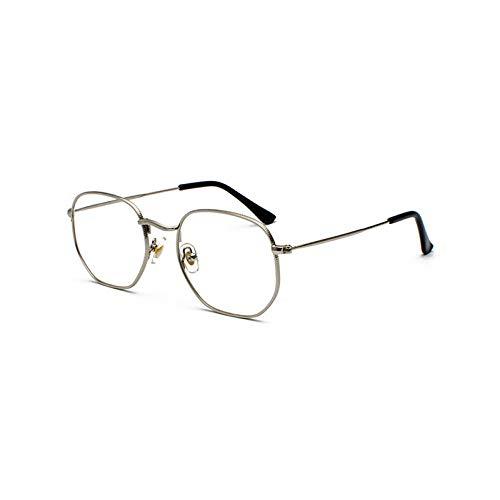 YMTP Metallrahmen Brillen Quadratischen Rahmen Männlich Klare Linse Auge Brille Rahmen Für Frauen Kleines Gesicht, Silber Mit Klar