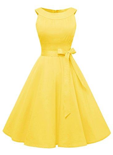 Timormode Sommerkleider 50er Retro Damen Rockabilly Kurz Vintage Kleid Ärmellos Swing Kleid Ballkleid 10408 L - Gelb Kleider Damen