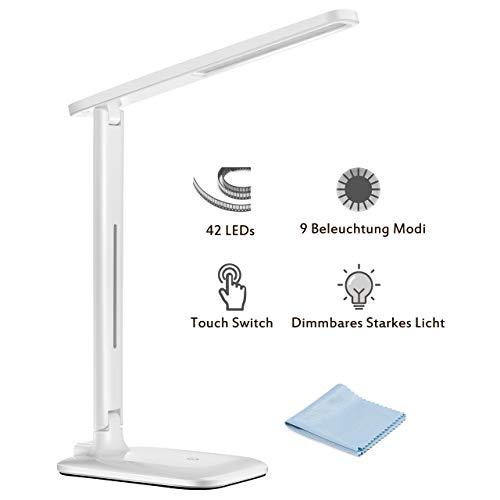 LED Schreibtischlampe, TOPELEK 42 LED Tischlampe, 3 Farb- und 3 Helligkeitsstufen, Tischleuchte mit Touch Control-Taste, Farbtemperatur Speicherfunktion für Büro, Haus, Lesen, Studieren, Arbeitn.