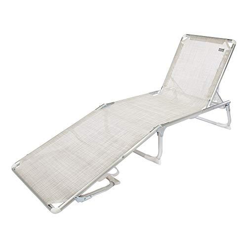 AKTIVE 53977 Tumbona Plegable Aluminio 5 Posiciones Beach, 188 x 58 x 24 cm, Blanco