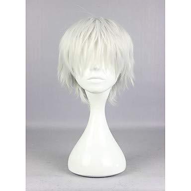 HAIYUANNAN Tokyo Ghul Ken Kaneki 30cm Kurze silbrig synthetische grau hohe Qualität Cosplay Perücke, Silver