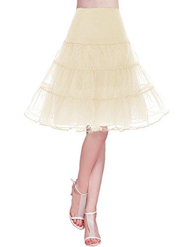 Bridesmay Jupon pour Robe Femme Vintage années 50 Pin Up Robe de Soirée Cocktail Cérémonie sous Robe Jupe en Tulle Champagne L