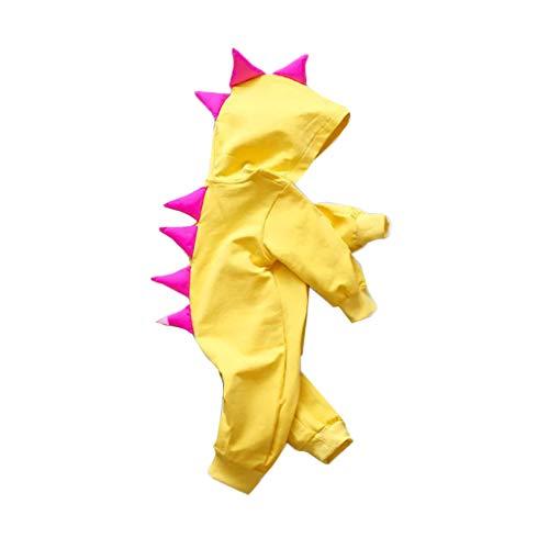 mama stadt Baby Dinosaurier Kostüm Unisex Kinder Dinosaurier Kapuzen Onesies Overall Outfits Kleidung,Gelb 73-100CM