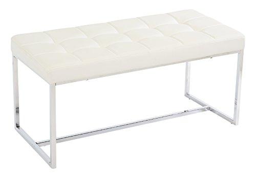 Bank New York (Manchester Furniture Supplies Newyork-Bank-Weiss ModernesgepolstertesLederu.Chrome,dieBankspeisen, Lederimitat, White, 99 x 48 x 47 cm)