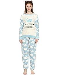 Pahajim Pijamas de Franela para Damas de otoño e Invierno Engrosamiento de  Pijamas caseros Pijamas más Suaves… 97ee07c5415b