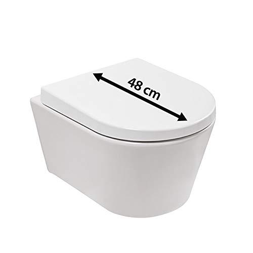 Calmwaters - Moyade - Hängendes Raumspar-WC mit kurzer Ausladung als Tiefspüler im Komplettset mit WC-Sitz - 08BC2388