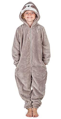 CityComfort Kinder Jumpsuits Kostüm Tier Onesie, Super Kuscheliger Schlafanzug Mädchen Kigurumi Pyjamas Jungen Schlafoverall Einhorn Katze Löwe AFFE Faultier (5/6 Jahre, Faultier)