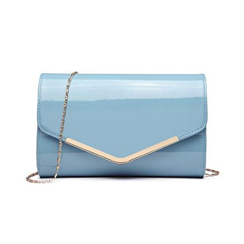 Miss LuLu Elegante Kettentasche Damen Tasche Clutch Bag Handtasche Hochzeit Abendtasche Umhängetasche Mädchen (LH1756-Schwarz)