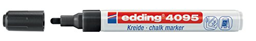 edding 4095 Kreidemarker - Farbe: Schwarz - Dünner Kreidestift / Fenstermarker - Beschriften von...