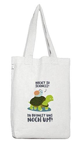 Turtle Jutebeutel Stoffbeutel Earth Positive mit Turbo Schildkröte Motiv White