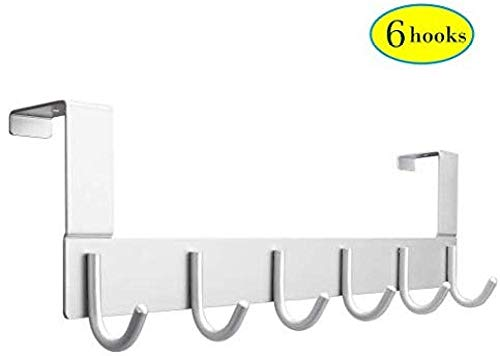 Über Tür Haken Rack - Aluminium Kleiderhaken mit 6 Haken - Türhänger für 3,5-4,5 cm Dicke Tür hängen Mäntel, Hüte, Jacken, Handtaschen, Roben, Regenschirme -