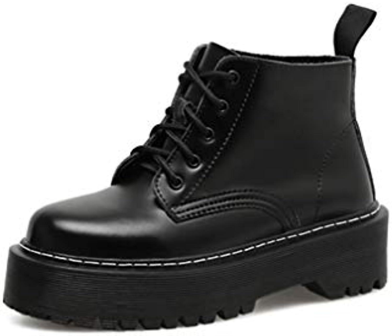 Hy Chaussures pour Printemps/Automne Femmes Printemps/Automne pour Confort du Cuir Oxford Bottes Martins à Fond épais et rétro , Bottines... 864f50