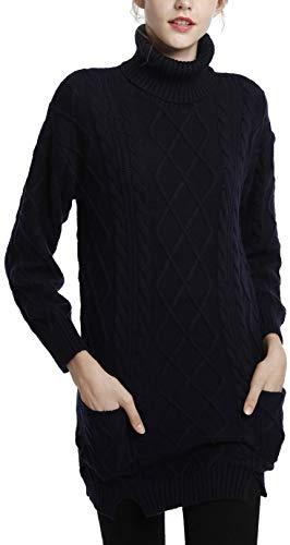 LinyXin Cashmere Damen Winter Kaschmir Langarm Rollkragen Pullover aus Wolle Kleid Gestrickter Sweater Pullover Kleid (S / 38-40, Marineblau)