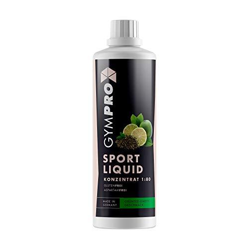 GymPro Sport Liquid Lower Carb Drink 1:80, 1000ml Sirup Konzentrat in Flasche mit L-Carnitin, Magnesium und Vitamin für Fitness (Grüntee Limette)