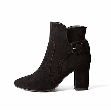 Scarpe Donna FYZS DONNA stivali invernali Mary Jane Pu Casual Zeppa Black Feather Us6.5-7 / Eu37 / Uk4.5-5 / CN37 US4-4.5 / EU34 / UK2-2.5 / CN33