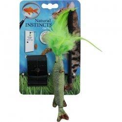 All for Paws Natural Instincts Türhänger Fisch mit Feder, Katzenspielzeug, Geschicklichkeitsspielzeug für Katzen