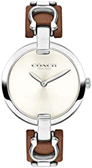 Coach Women's Chalk Dial Stainless Steel & Brown Leather Watch -