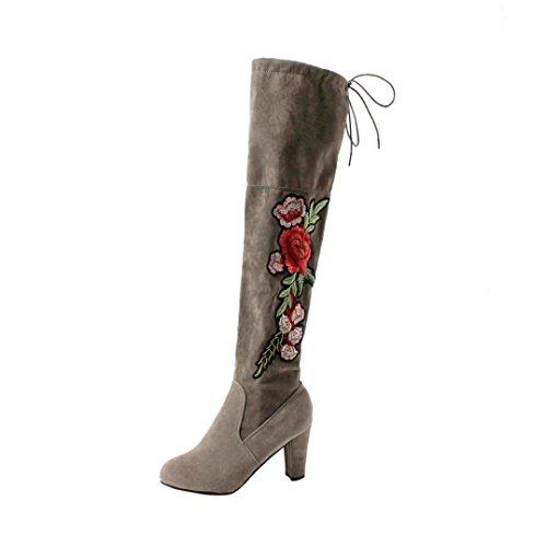 Damen Elegant Stiefel, Sunday Frauen Rose Sticken Oberschenkel Hohe Overknee Stiefel Flock High Heels Schuhe Unterhaltung Freizeit Party Arbeit Hochzeit Stiefel (Grau, 39 EU)