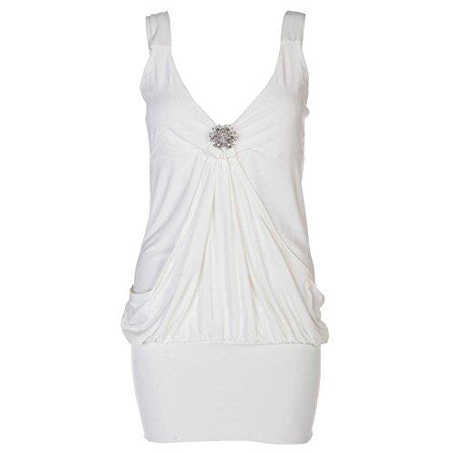 Drapé Broche pour femme Mini robe en haut pour femme Robe Tailles 8 à 20 Jaune - Crème