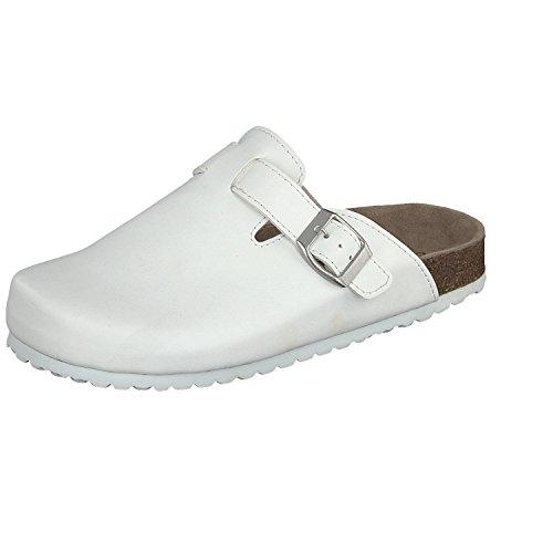 Softwaves 276 111 Unisex Damen Herren Clog Weiß Leder Innensohle (40, White) (Clogs Pantoletten Leder)