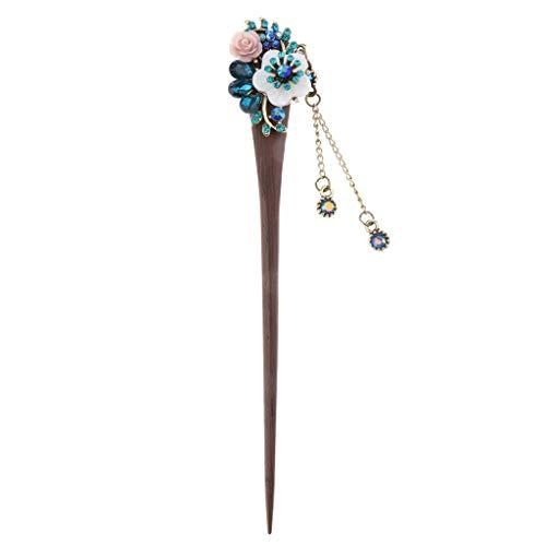 Fenteer Holz Haarnadel Haarstab Haarschmuck mit Blumen Quaste Vintage Kostüm Schmuck - Blau